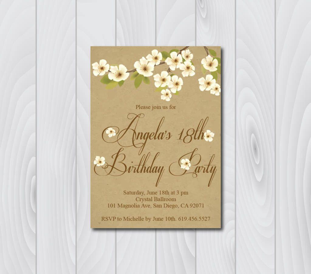 18th Birthday Invitation/Printable Vintage Birthday Invitation/e ...
