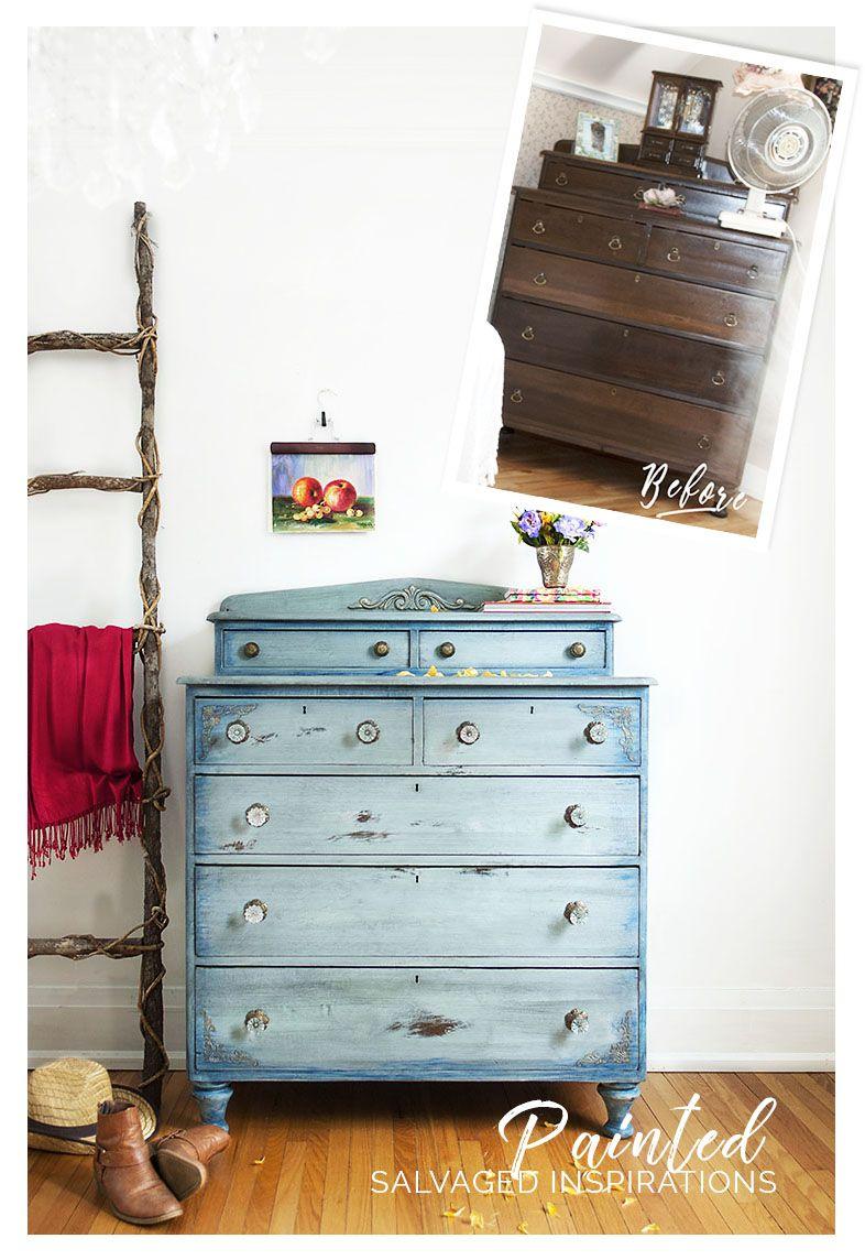 Faded Denim Inspired Painted Dresser Before u0026