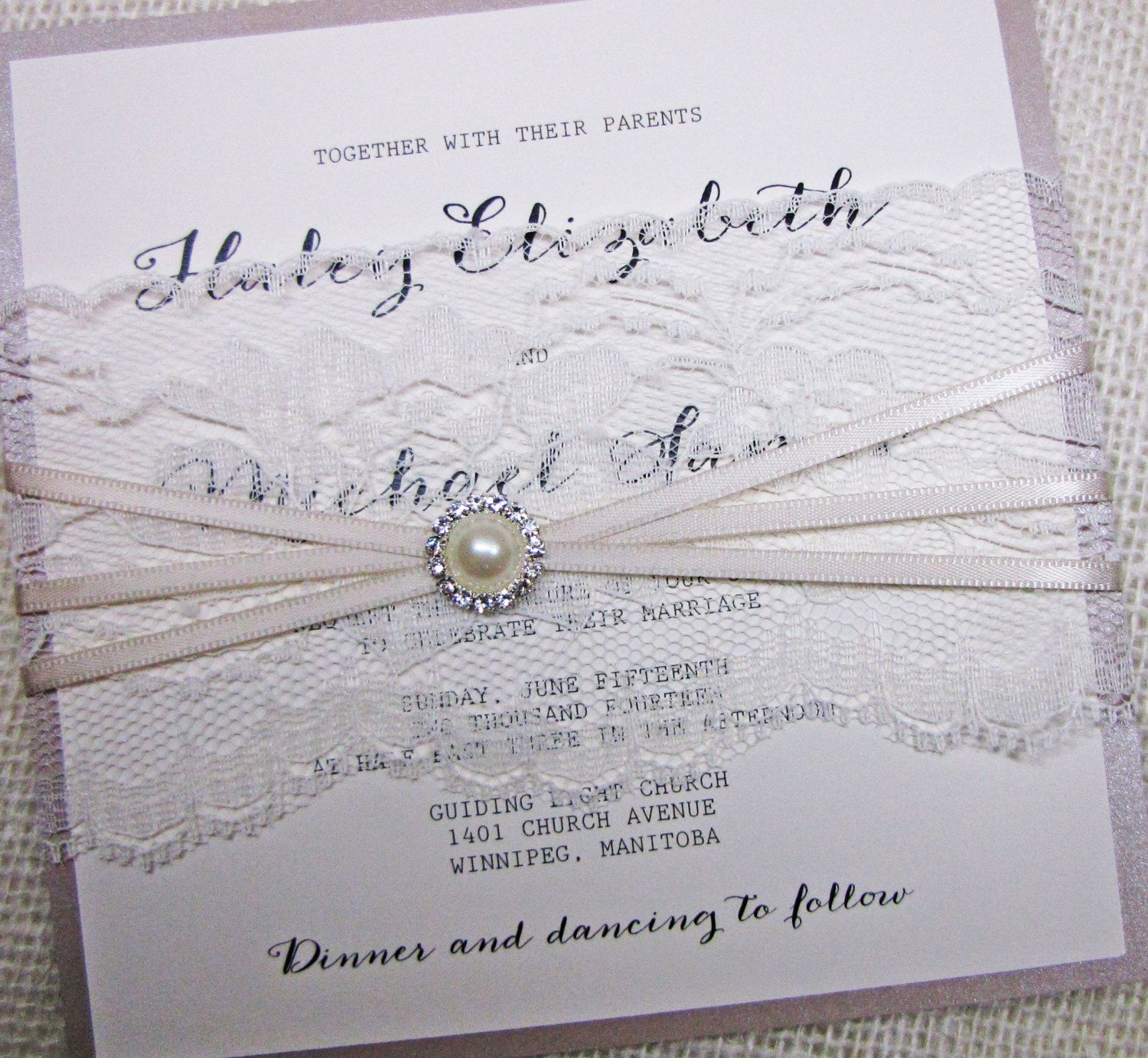 Elegant vintage lace calligraphy with lace wrap and rhinestone pearl