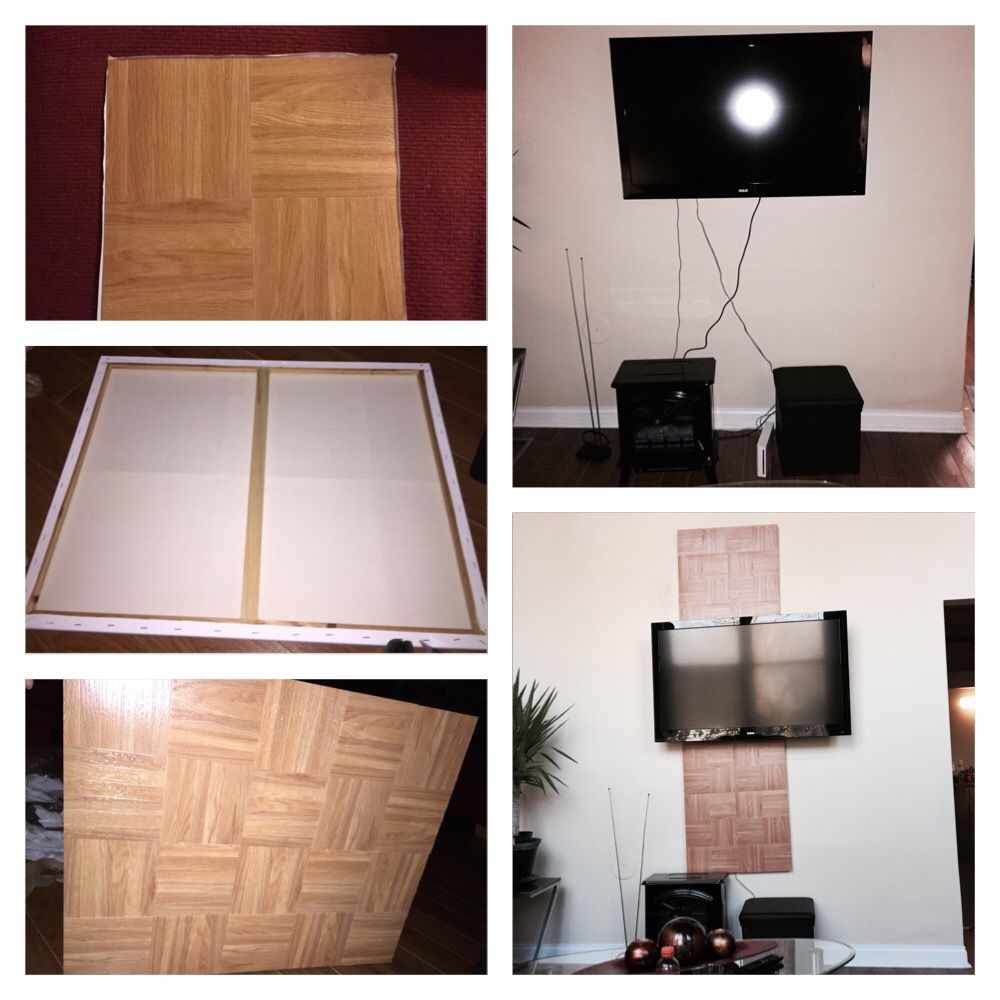 Creative way to hide TV cords using two canvas boards, sticker tiles, and  simply