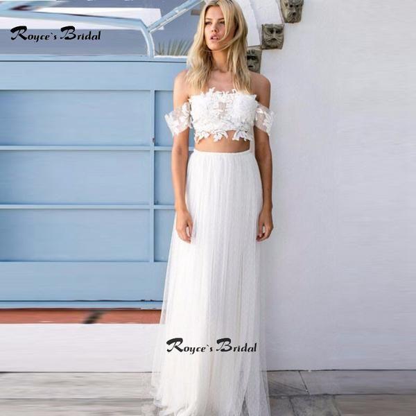 Two Piece Wedding Dresses Bohemian Honeymoon Dress Custom Made Lace ...
