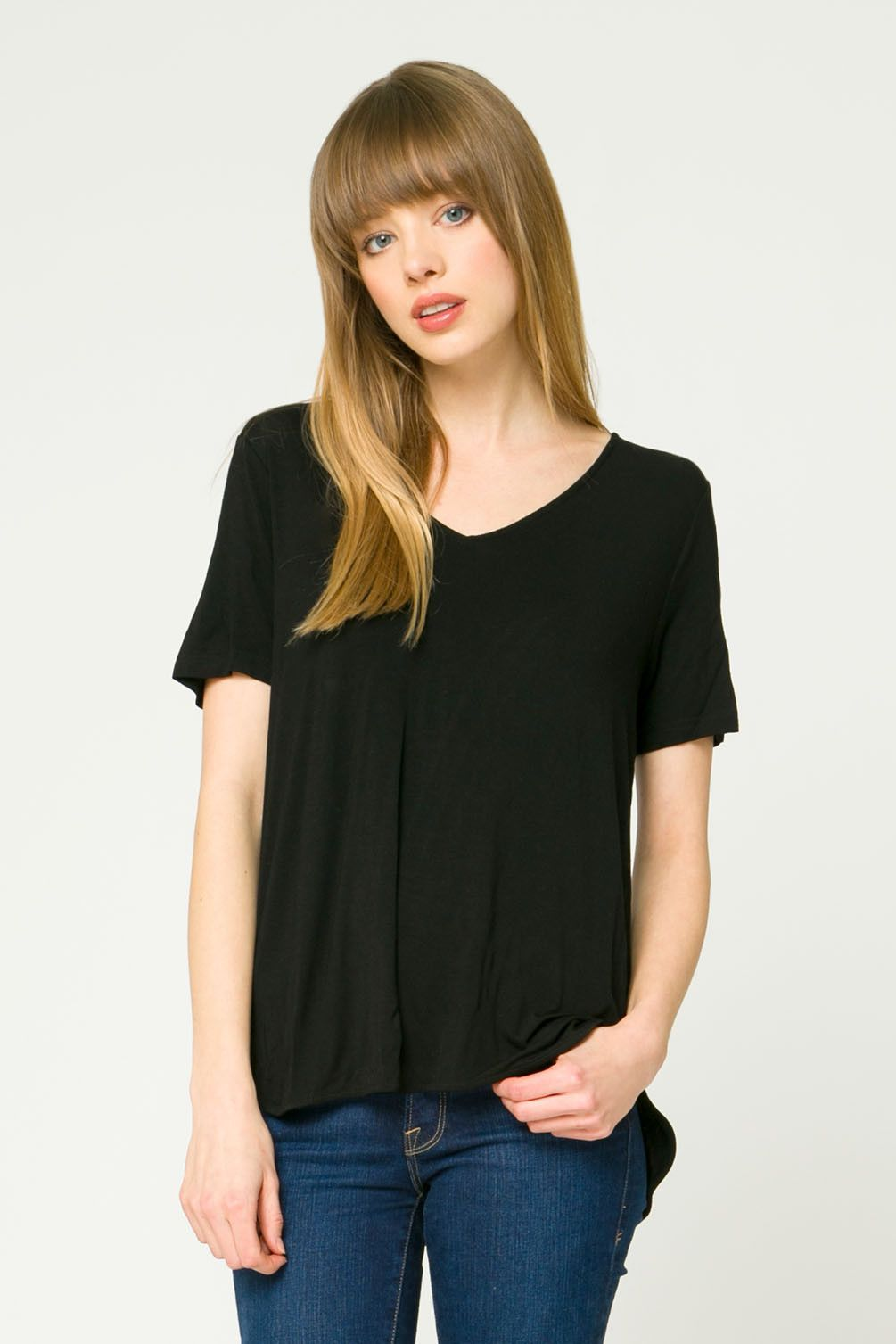 V-Neck Side Split Detailed T Shirt