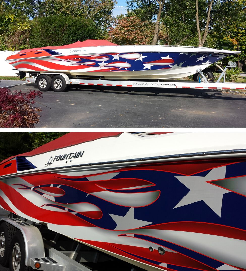 Very Nice Boat Wrap By Kaos Design Material Used Avery 1005 Ezrs Offshore Boats Boat Wraps Cool Boats