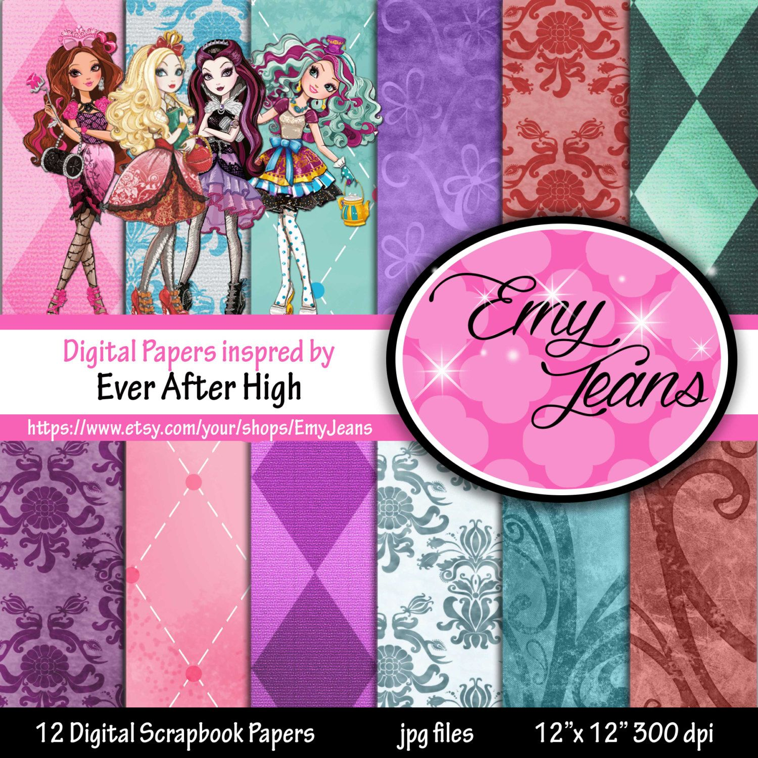 Scrapbook paper dollhouse wallpaper - Digital Paper Ever After High Background Wallpapers By Scrapbooking