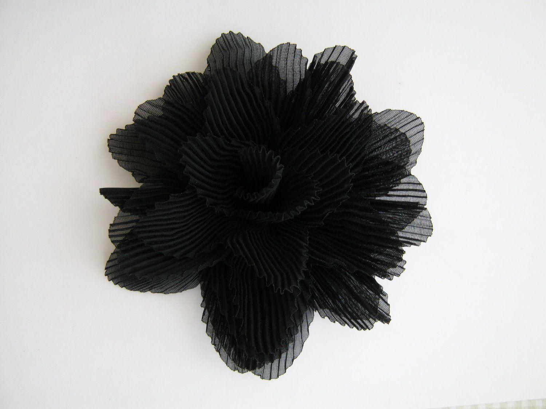 Black chiffon flower brooch pin