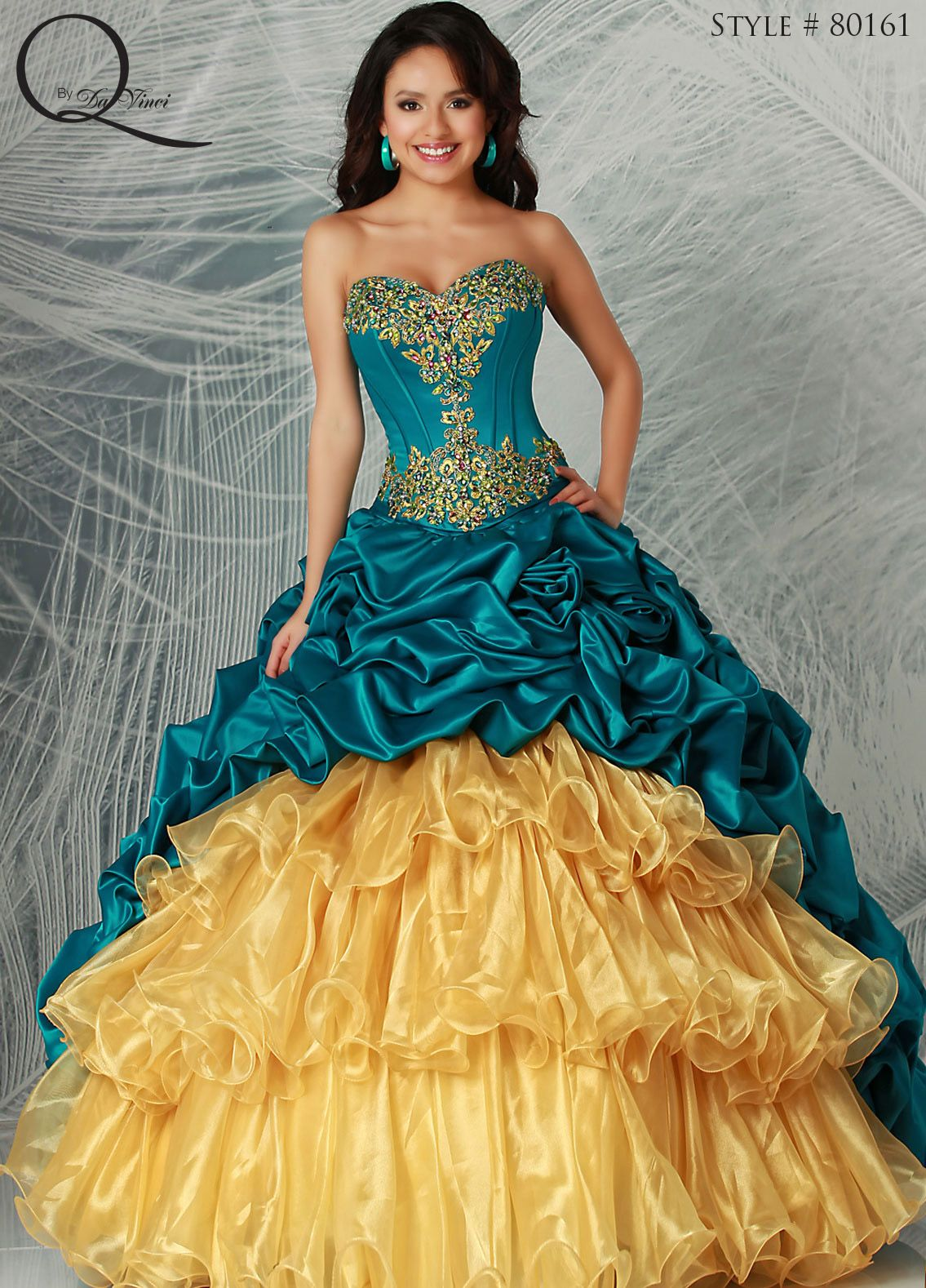 63fd4e5251 Teal blue gold Quinceanera dress ~ Quinceanera dresses from Q by Davinci   quince XV años. Available in Teal Gold