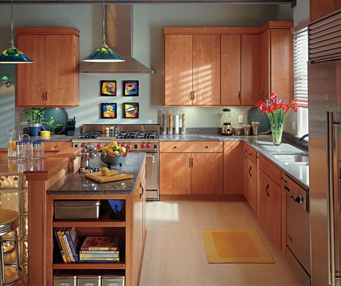light cherry kitchen cabinets. A simple backdrop  like these light Cherry kitchen cabinets lets you make a bold