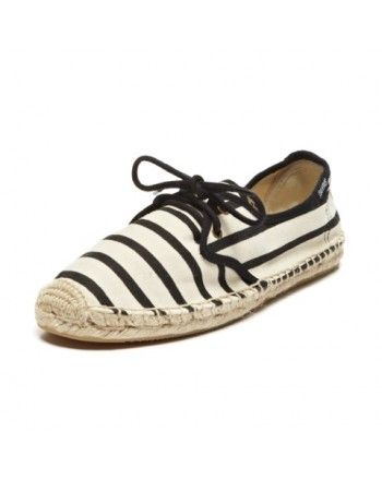 Classic Stripe - Natural Black Lace Up Espadrilles for Women from Soludos - Soludos Espadrilles $55