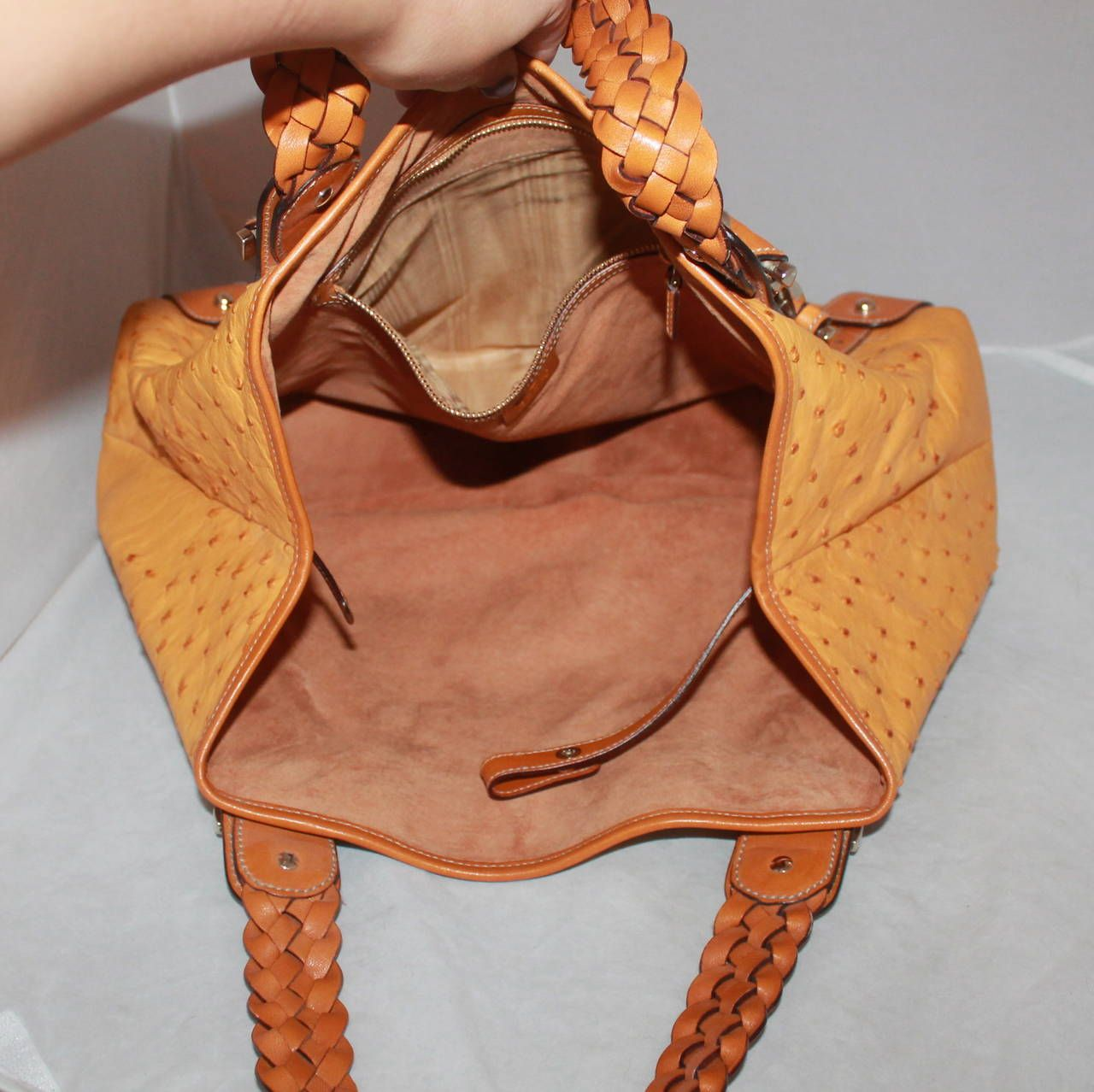 ec9988776c59 Gucci Mustard Ostrich and Luggage Braided Leather Shoulder Bag For Sale at  1stdibs