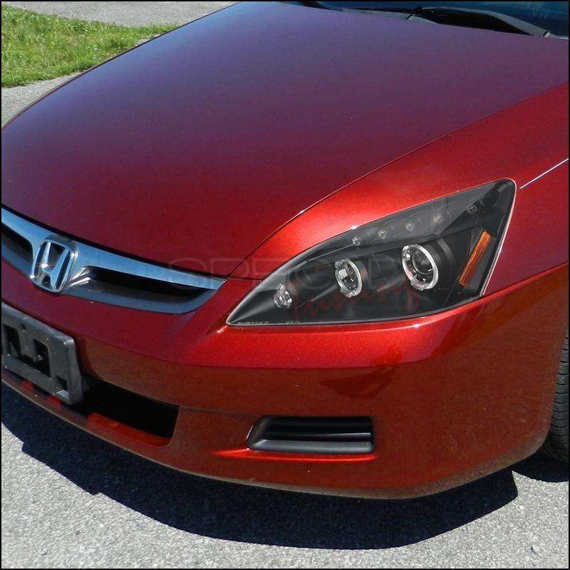 Spec D Projector Headlights Honda Accord Dual Halo 03 07 Black Or Chrome Projector Headlights Honda Accord Led Halos