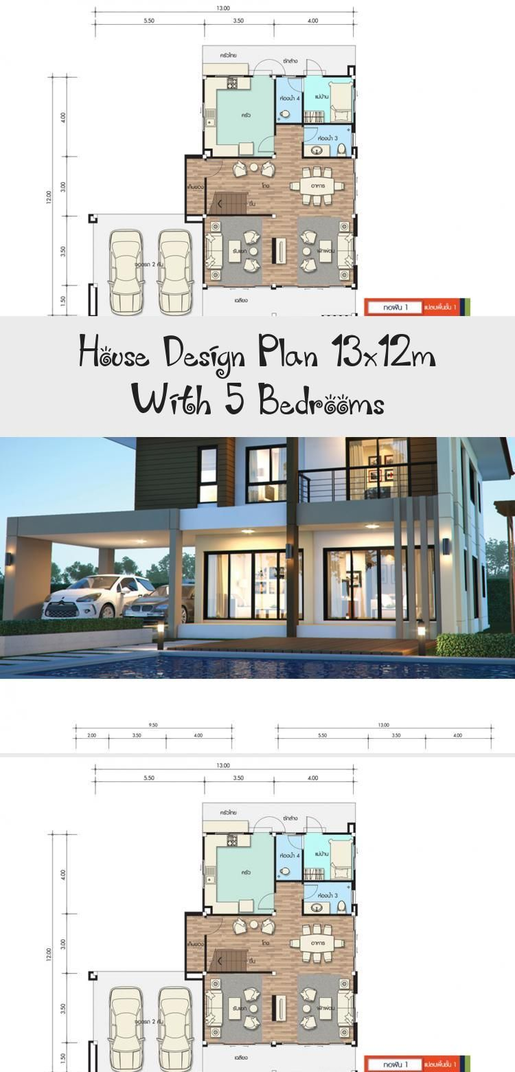 House Design Plan 13x12m With 5 Bedrooms Home Design With Plansearch Tropicalmodernhouses Dreammodern In 2020 Small House Design Home Design Plans Home Design Plan
