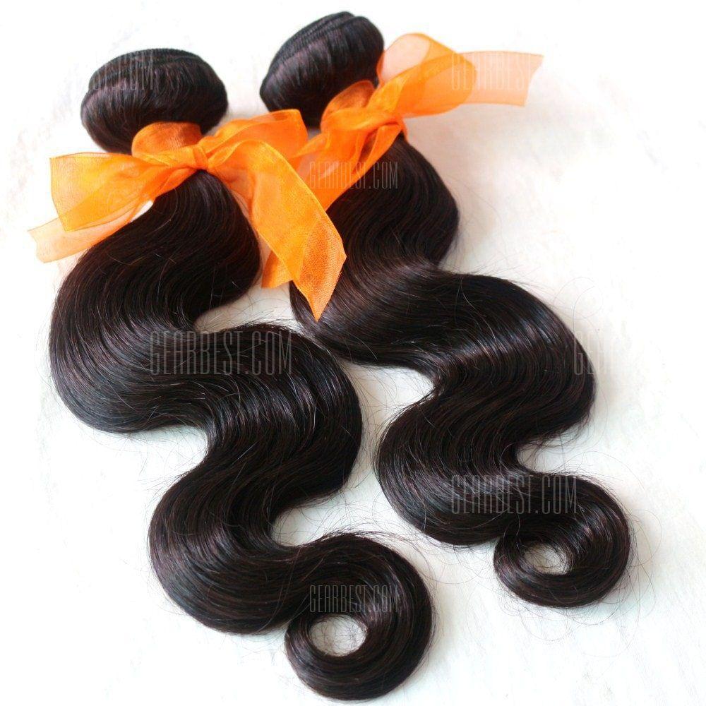 Body Wave 100 Percent Natural Color Indian Virgin Hair Weave 2pcs