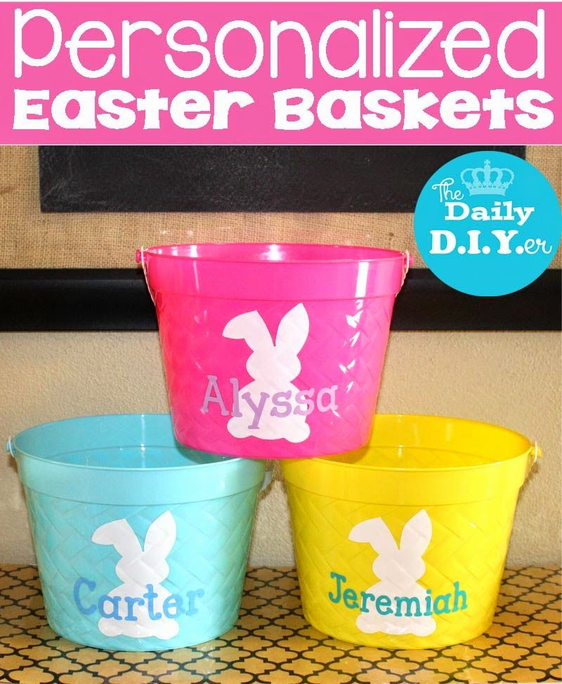 Create your own easter baskets with vinyl and plastic buckets from create your own easter baskets with vinyl and plastic buckets from the dollar tree the daily diyer personalized easter basket negle Choice Image