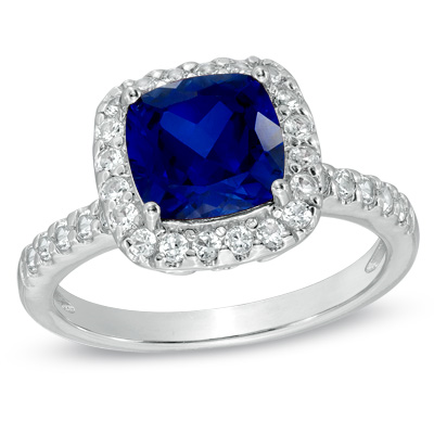 Zales 8.0mm Cushion-Cut Lab-Created Blue and White Sapphire and Diamond Accent Frame Ring in Sterling Silver ynvrZN12zU
