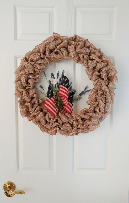 DIY Fourth of July Ribbon Wreath | Wire wreath frame, Wire wreath ...