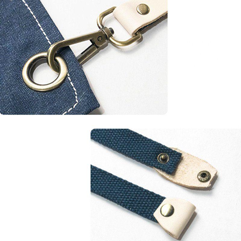 Black blue canvas apron crossback straps blue canvas