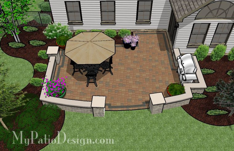 Private Backyard Patio Design with Seat Wall - 415 sq. ft | Backyard ...