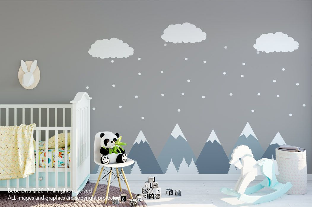 Mountain Wall Decals, Wall Decals Nursery, Baby Wall Decal, Kids ...