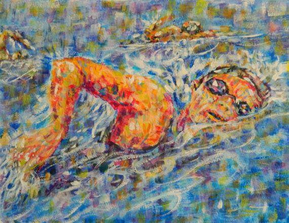 Original Acrylic Painting of Triathlon Swimmer 8 x by ViviansART #triathlon #sports #gifts
