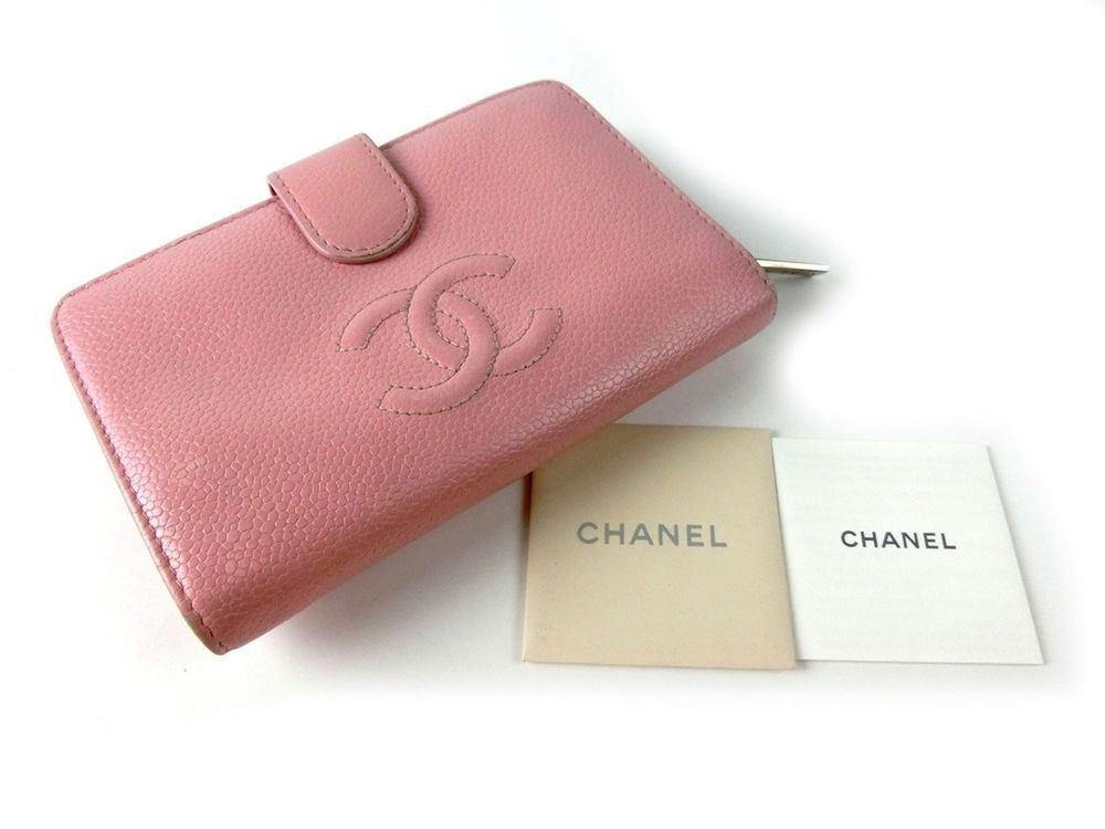 c4d785a8c1a4 Auth Pre-Owned CHANEL Caviar Compact CC Mark Leather Pink Wallet ...