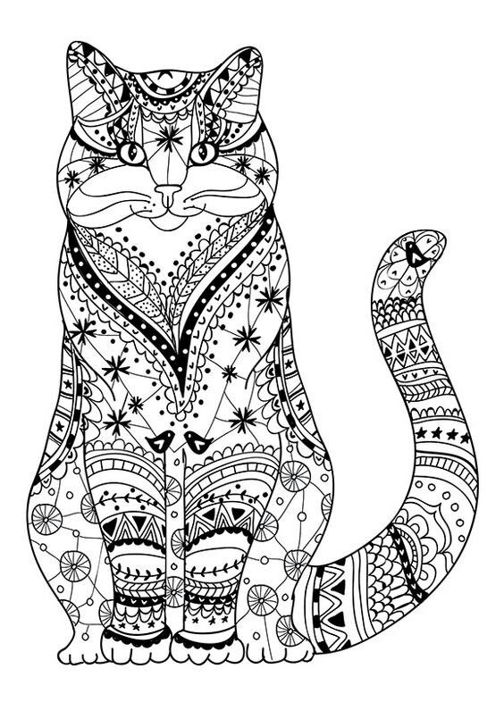 Cat coloring page … … | Mandalas…