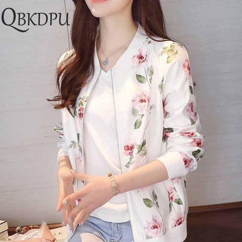 Women Floral Print Long Sleeve Autumn Tops Zipper Jacket Outwear Loose Tops Coat