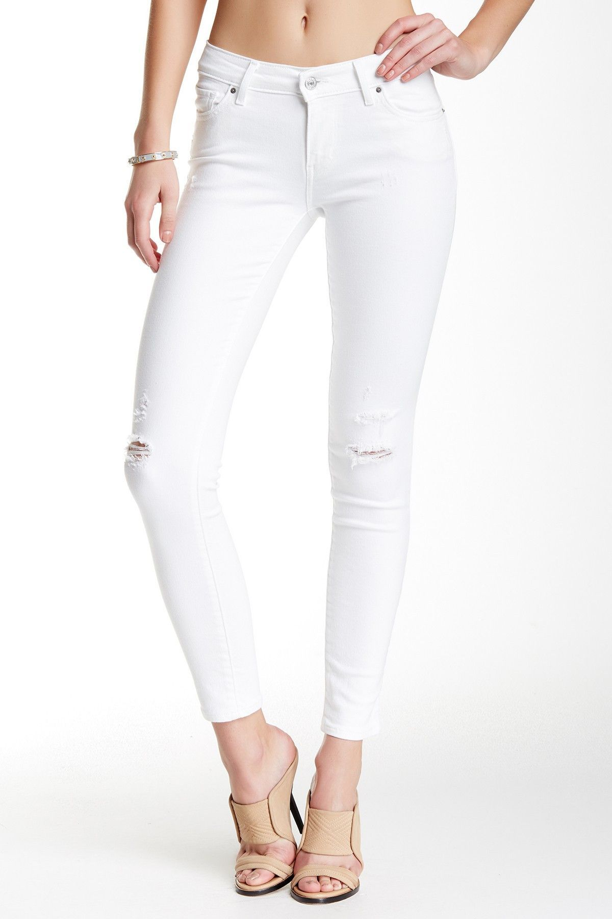 Levi's 711 0076 White Ripped Knee Skinny Jeans Size 10 30 X 32 ...