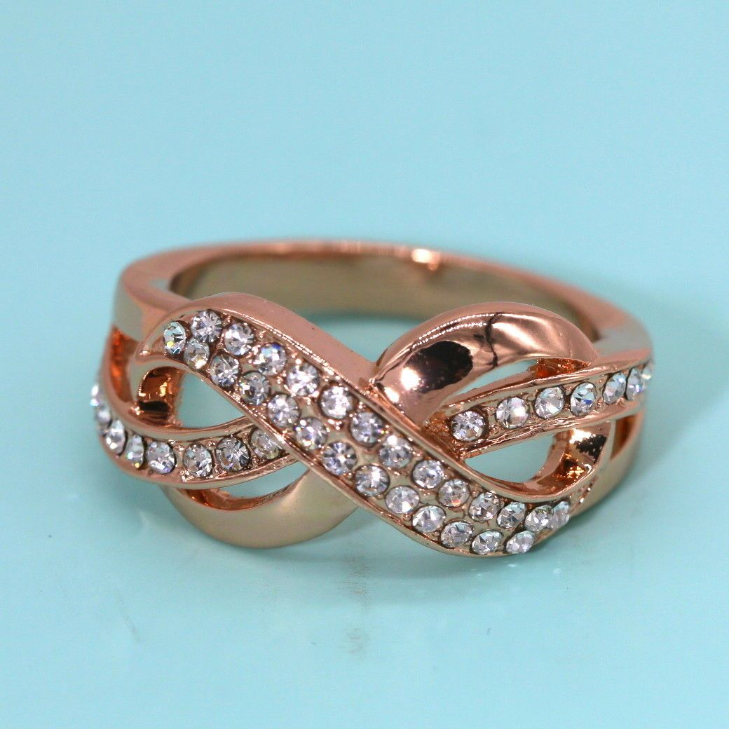 style stackable pfs double modern silver jewelry bling az infinity band ring