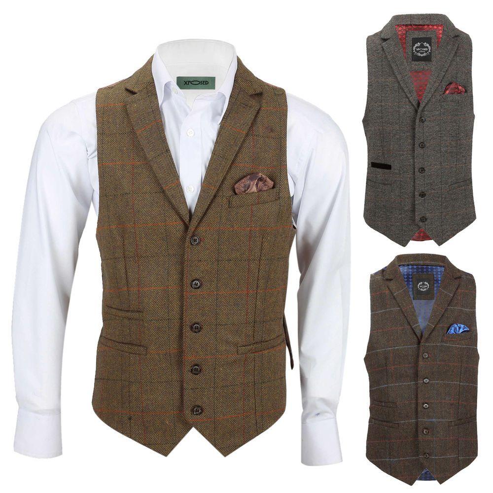 2597856b34a Details about Mens Tweed Check Waistcoat Retro Herringbone Collared ...
