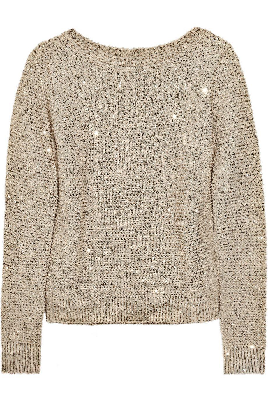 Oscar de la Renta Sequined silk and cotton-blend sweater | Style ...