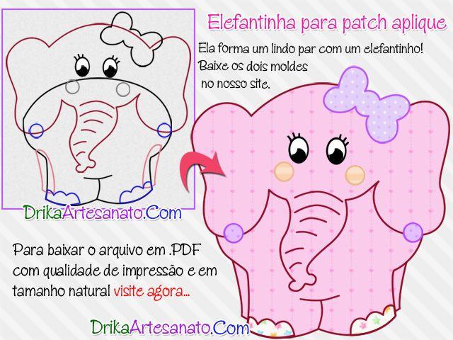 Patchwork moldes: elefantes simpáticos para patch aplique ...
