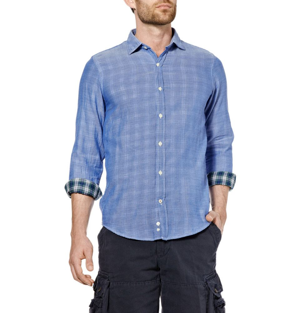 Plaid Lined Chambray Shirt by Hartford - Light blue chambray slim fit shirt with a green and navy plaid lining in soft lightweight cotton