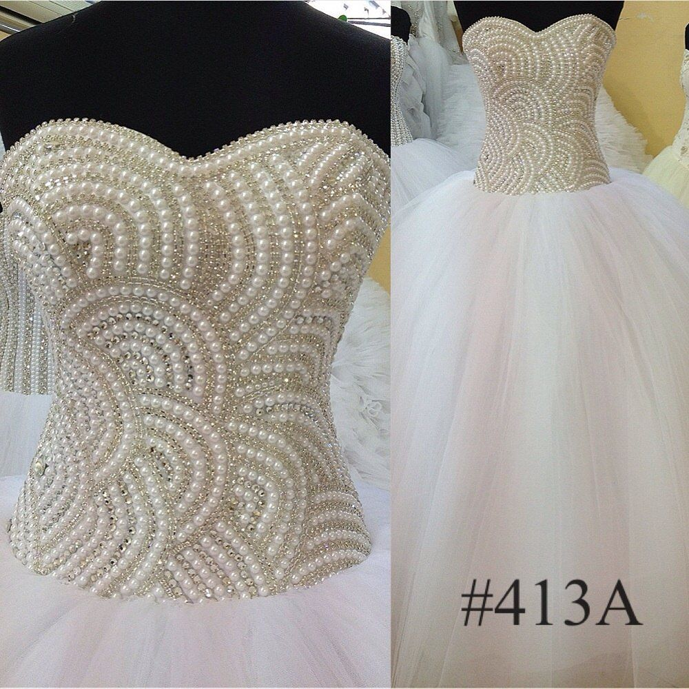White / Ivory Ball Gown wedding dress beaded | Beaded Bodice Ball ...