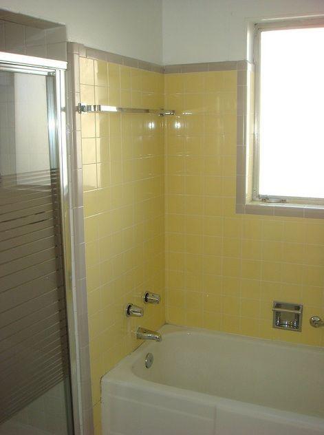 Mid Century Bathroom Tile Yellowandtantiletubsurround Vintage Tile Scrapbook Yellow Bathroom Tiles Yellow Bathrooms Yellow Bathroom Decor