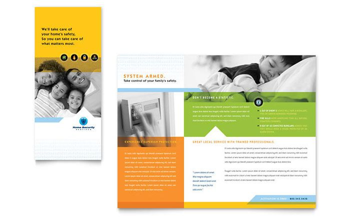 Home Security Systems - Brochure Template Design Positive Action - sample marketing brochure