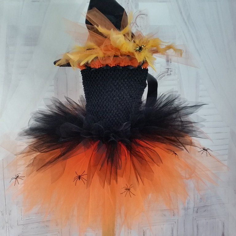 2556e207c7256 Robe tutu, déguisement fille de sorcière,noire et orange, bustier  extensible, tulle souple, Halloween, carnaval, anniveraire,shooting photos  de la boutique ...