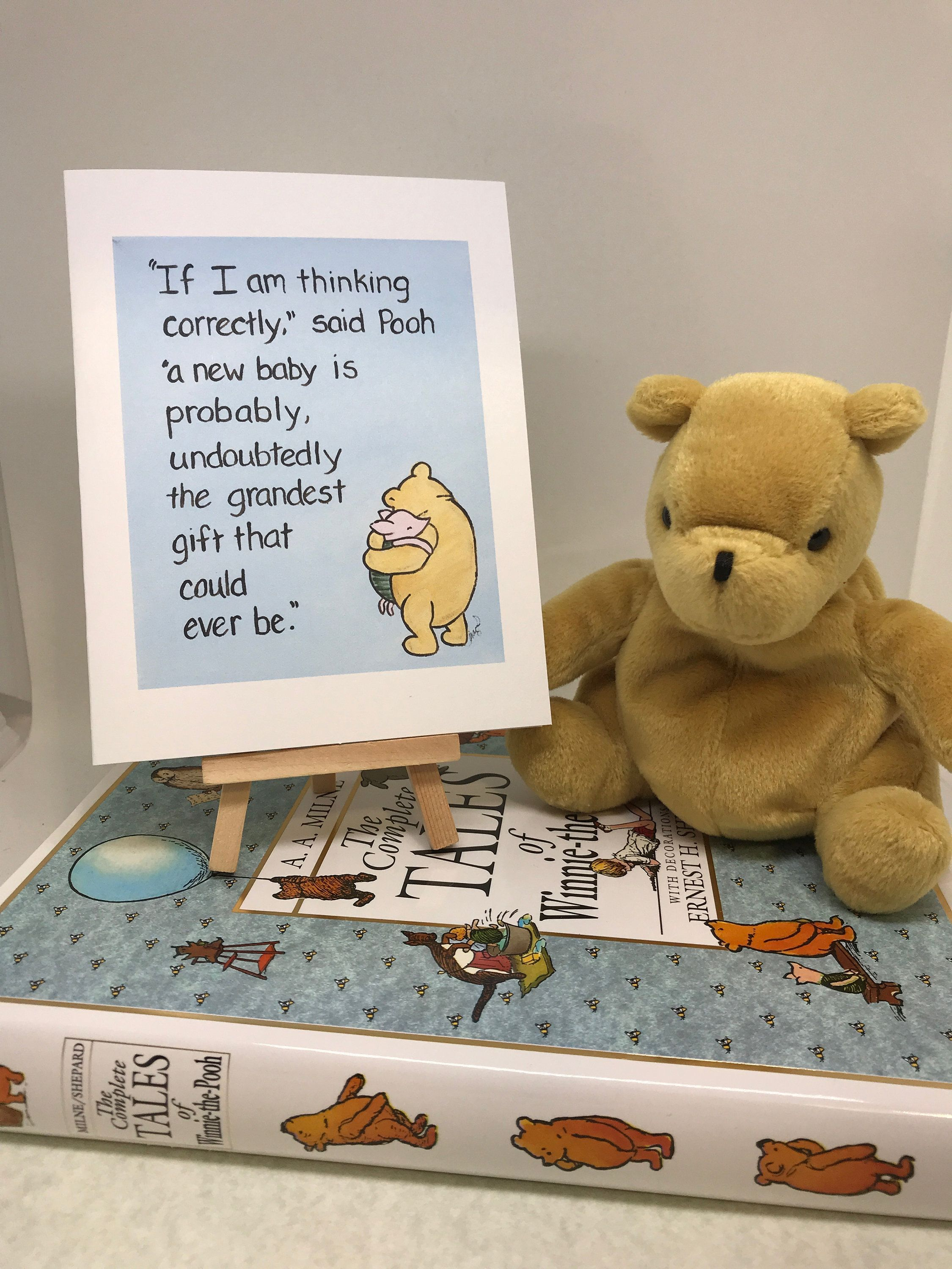 New Baby Card Winnie The Pooh Grandest Gift Quote Classic Etsy In 2021 Disney Baby Shower Boy Baby Shower Themes Baby Bear Baby Shower