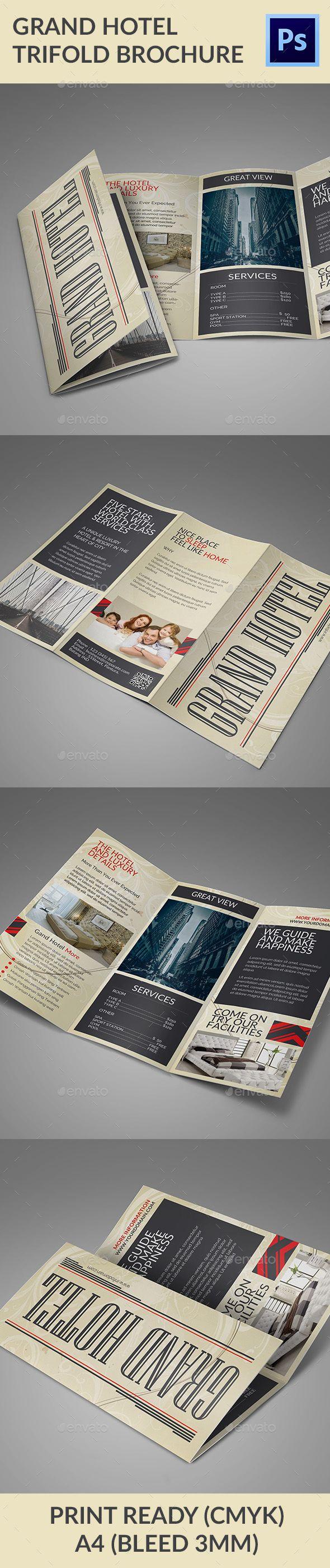 Grand Hotel Trifold Brochure | Grand hotel, Brochure template and ...