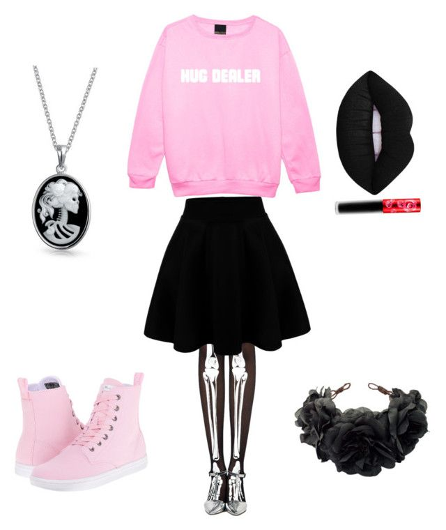 """Pastel Goth #2"" by gg532678 on Polyvore featuring Minga, Bling Jewelry, Dr. Martens, Lime Crime and Rock 'N Rose"