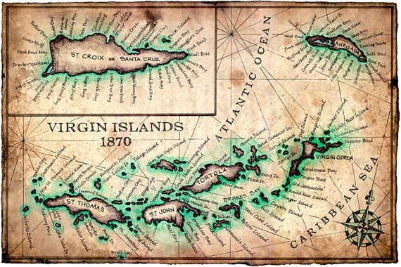 virgin islands map art print c1780 11 x 17 st john st croix virgin gorda anegada virgin islands bvi usvi island maps
