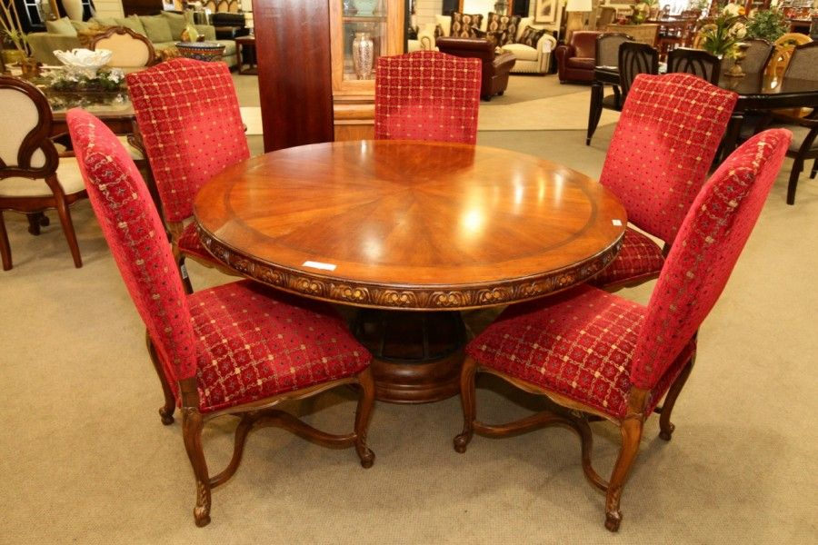 dining room sets las vegas | Round Dining Table with 5 Red Chairs - Colleen's Classic ...