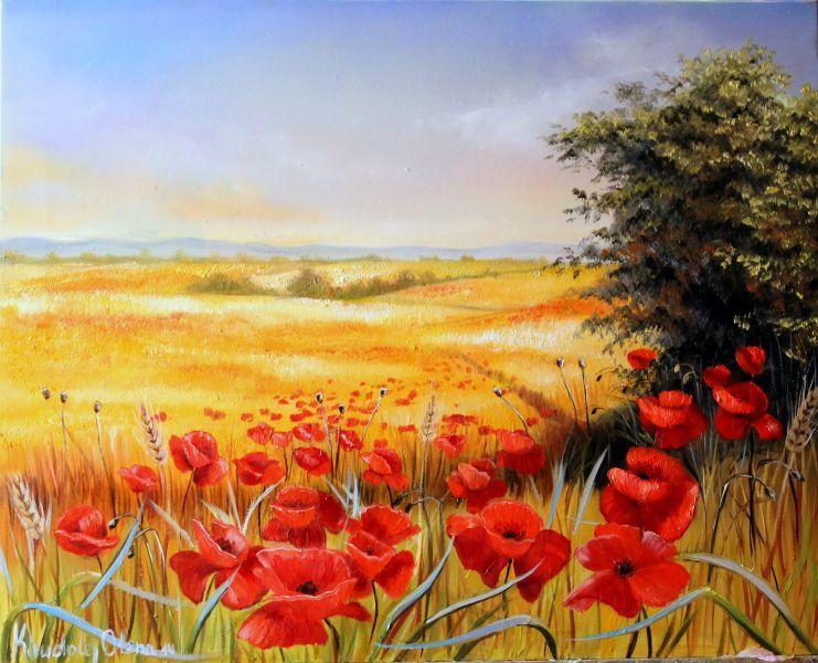 Campo di grano con papaveri opera d 39 arte di khudoley for Immagini di fiori dipinti