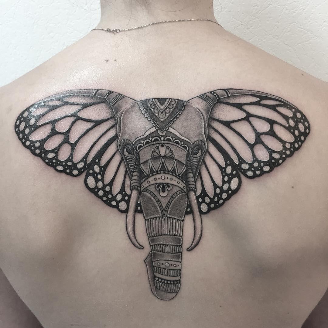 Elephant tattoo with butterfly ears Elephant tattoos