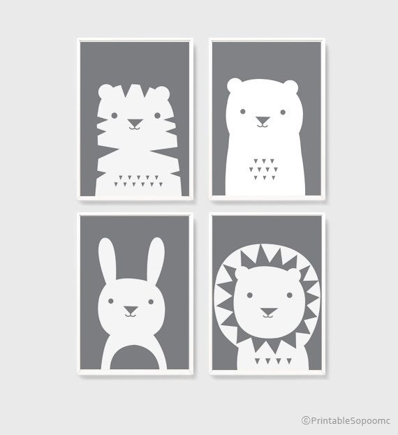 A3 art printables download Nursery Art Set of 4 Cute Animal Poster ...