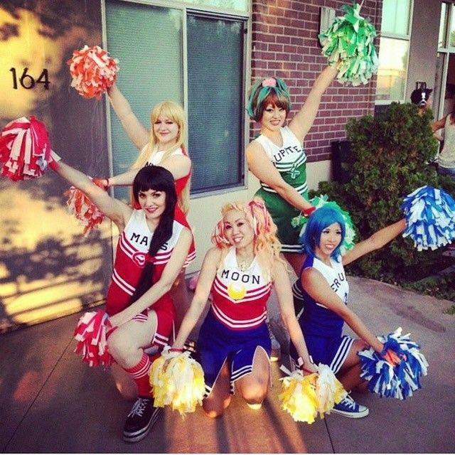Love this shot of our Sailor Moon cheer group from Saturday! We've never seen this mashup done before, and were excited to pull off this comfy and easy cosplay! In the name of the moon, we'll cheer...