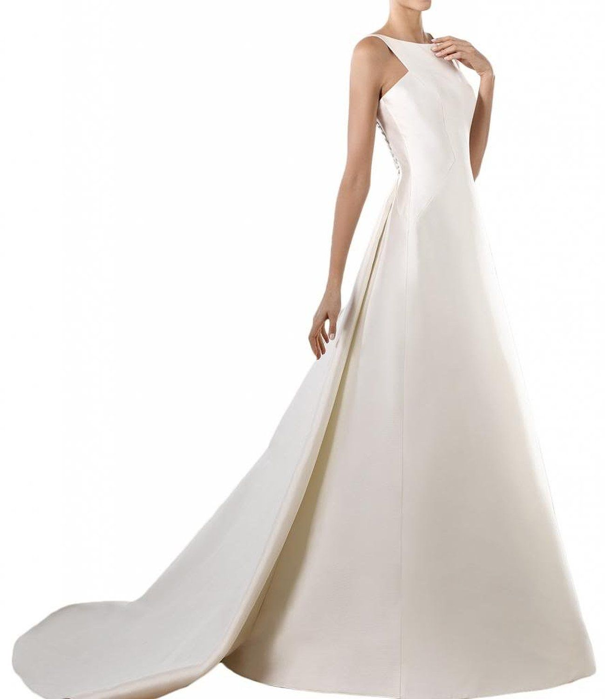 Gorgeous Bride Schlicht Lang A-Linie Rundkragen Satin Brautkleider
