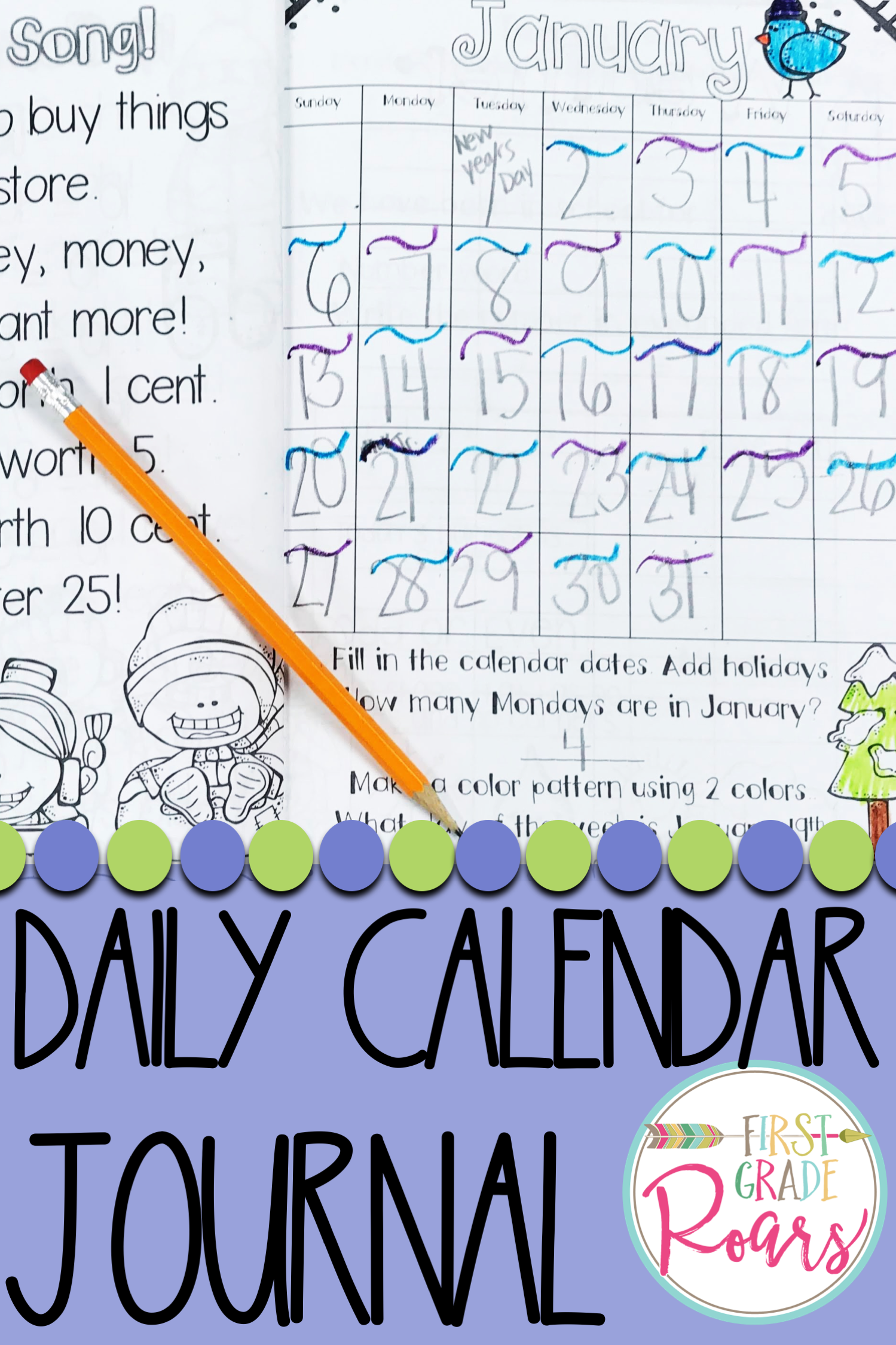 January Daily Calendar Review And Math Practice With