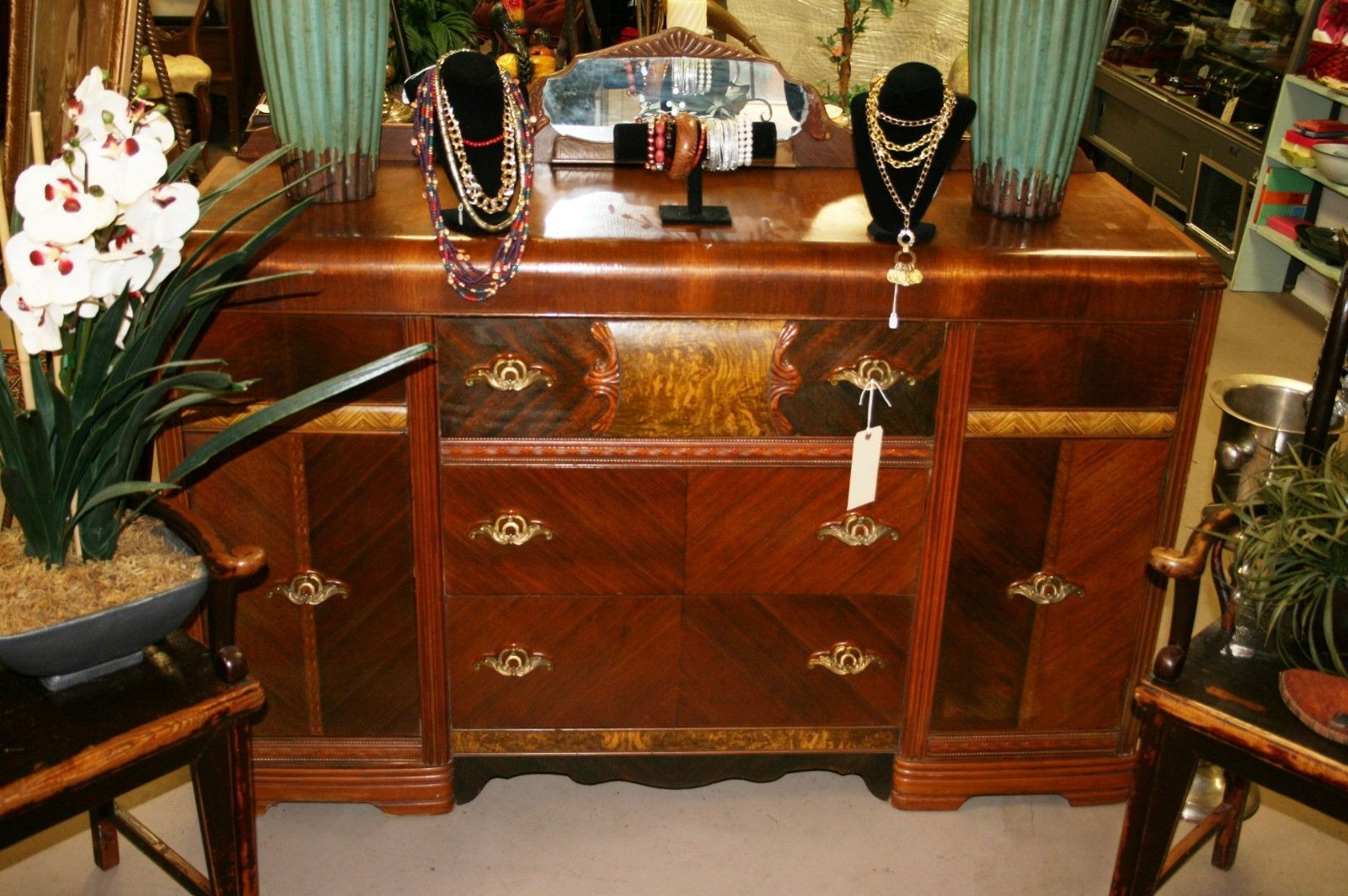 Art Deco Antique 1930s Waterfall Wood Sideboard Server