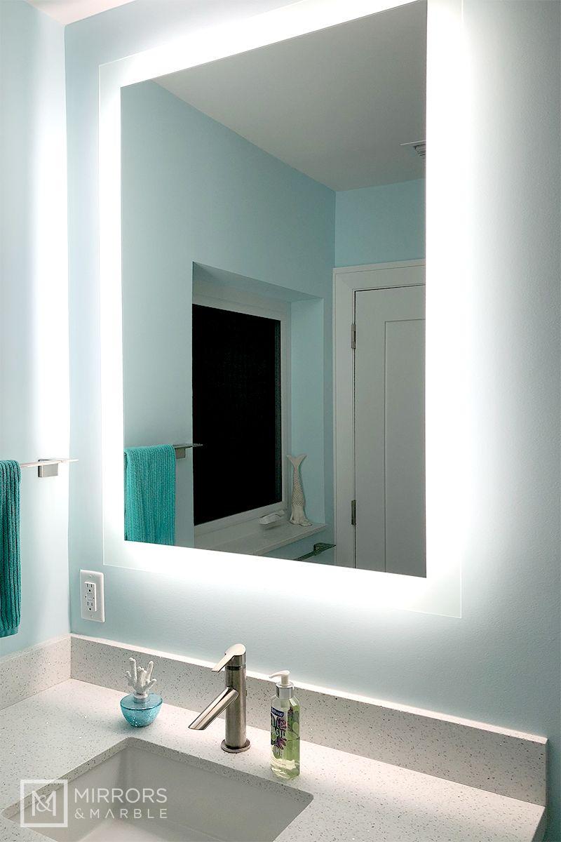 Side Lighted Led Bathroom Vanity Mirror 32 X 44 Rectangular