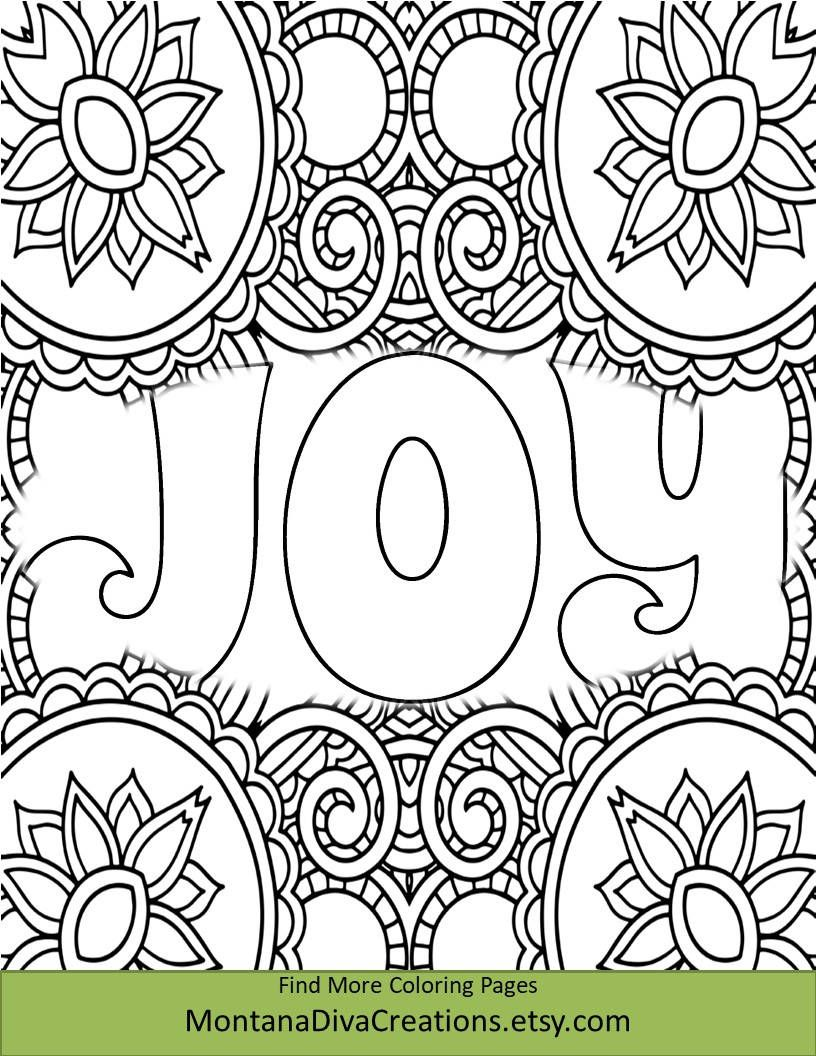 Joy - Christmas Coloring Sheet - Pretty Pattern - Printable Coloring ...